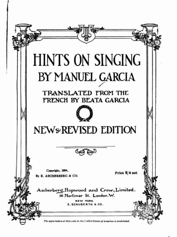 libros de canto tecnica vocal Manuel García
