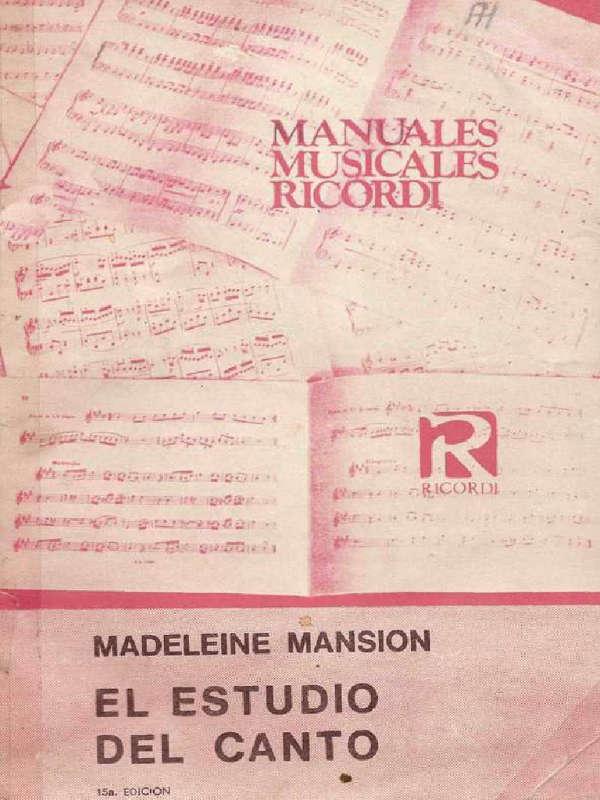 libros de canto Madelein Mansion