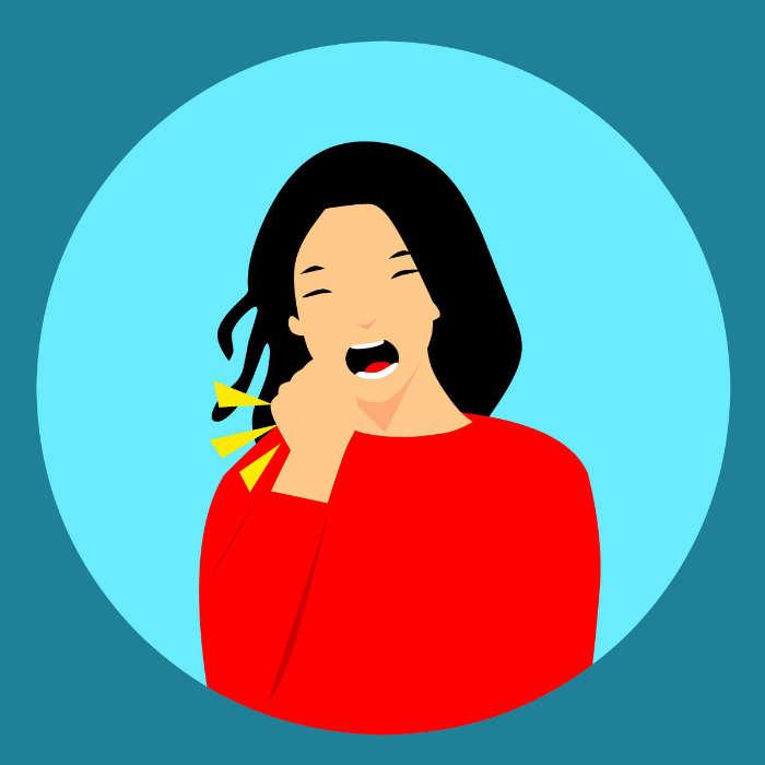 tos incontenible polipo en la garganta